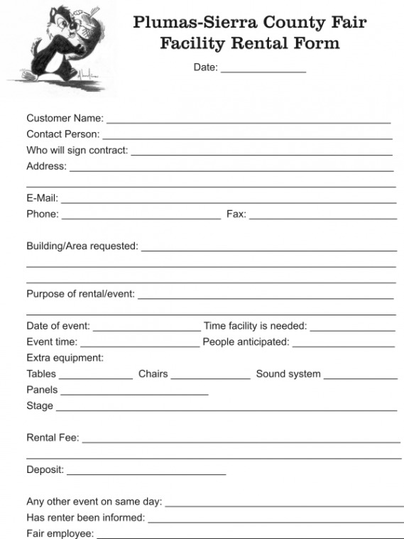 Facility Rental Form Plumas Sierra County Fair August 12